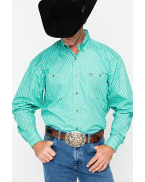 George Strait by Wrangler Men's Printed Geo Long Sleeve Western Shirt , Green, hi-res