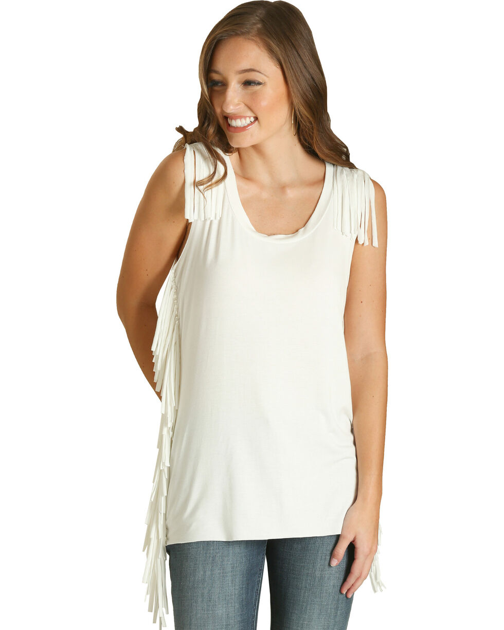 Wrangler Women's White Fringe Fashion Tank , White, hi-res