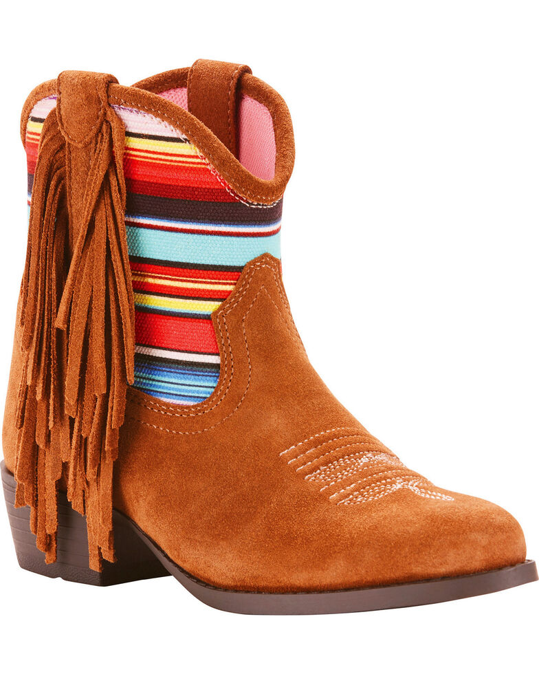 Ariat Girls' Duchess Serape Fringe Booties - Round Toe, Brown, hi-res