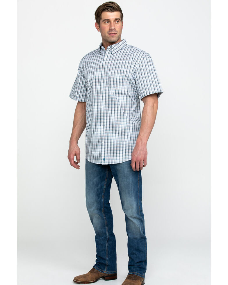 Cody James Core Men's Chainlink Plaid Short Sleeve Western Shirt , White, hi-res