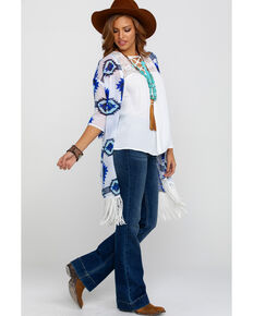 Rock & Roll Cowgirl Women's Aztec Fringe Kimono, Blue, hi-res