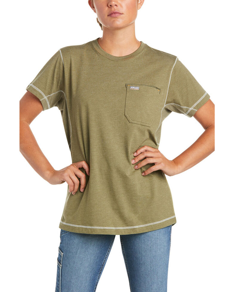 Ariat Women's Camo Rebar Workman Back Flag Graphic Short Sleeve Work Pocket T-Shirt , Sage, hi-res