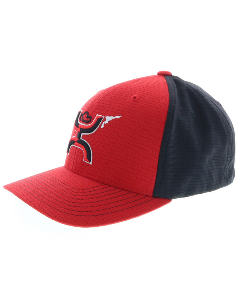 HOOey Men's Red Gunner Flex Fit Ball Cap , Red, hi-res