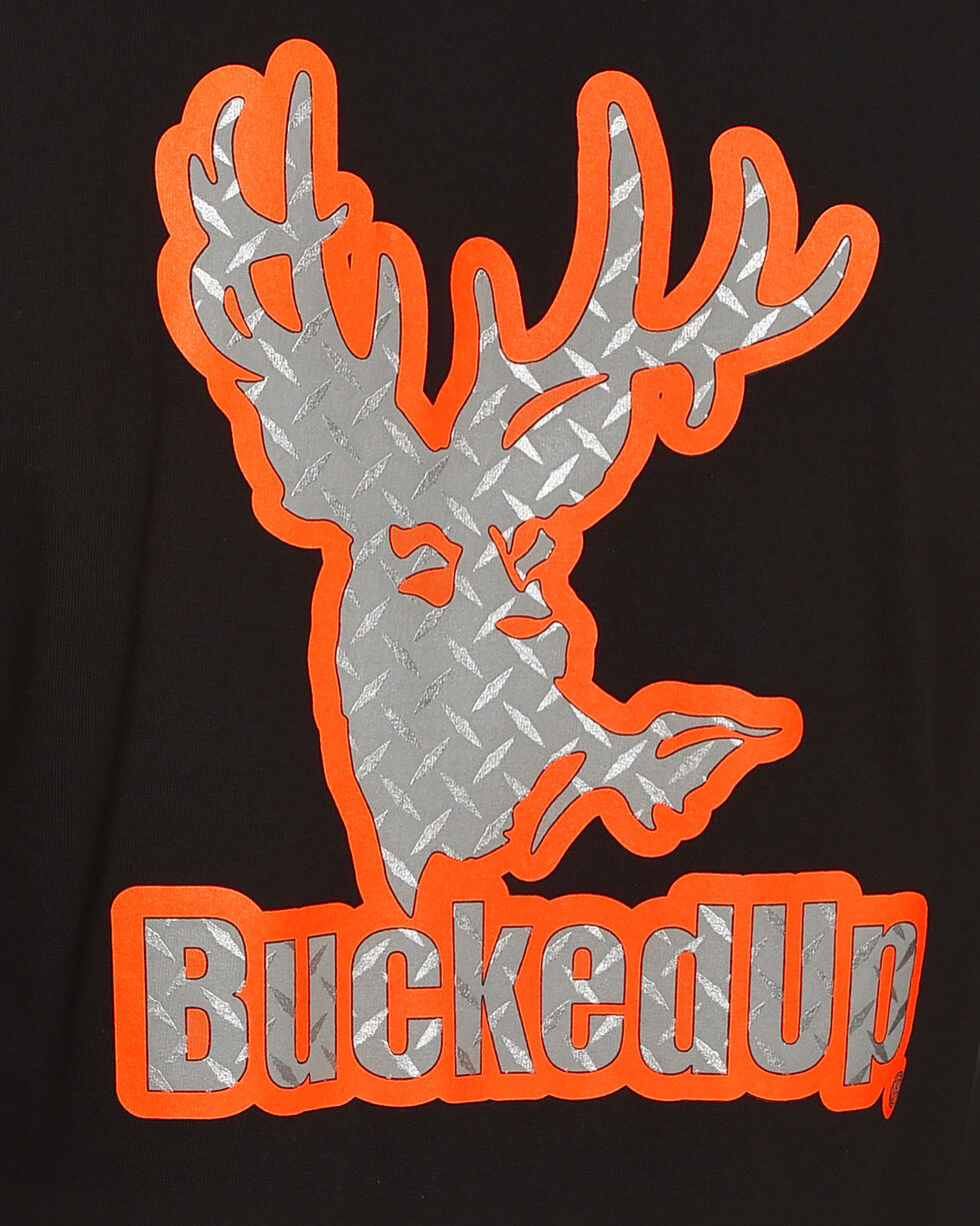 Bucked Up Men's Black Diamond Plate Logo Tee - Big & Tall, Black, hi-res