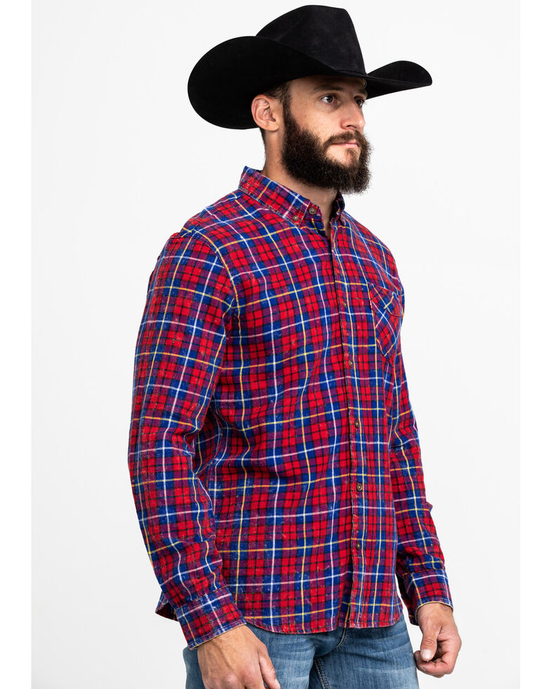 Levis Men's Red Mondy Plaid Long Sleeve Western Flannel Shirt , Red, hi-res