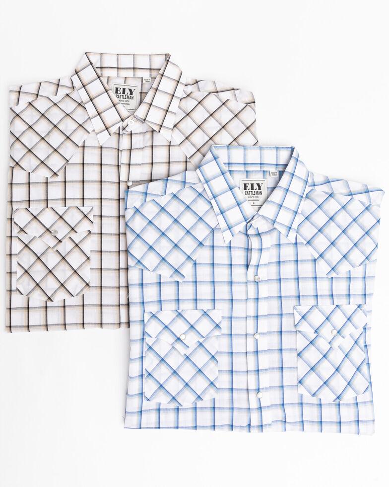 Ely Cattleman Men's Assorted Windowpane Plaid Long Sleeve Western Shirt , White, hi-res