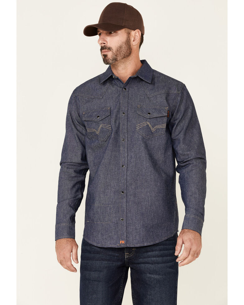 Cody James Men's FR Indigo Denim Long Sleeve Work Shirt , Indigo, hi-res
