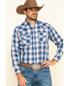 Ely Cattleman Men's Blue Med Plaid Long Sleeve Western Shirt - Tall , Blue, hi-res