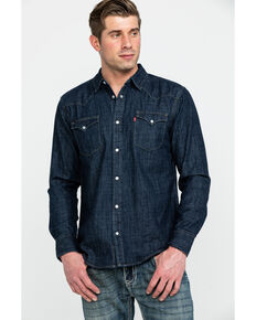 Levi's Men's Denim Long Sleeve Western Shirt, Dark Blue, hi-res