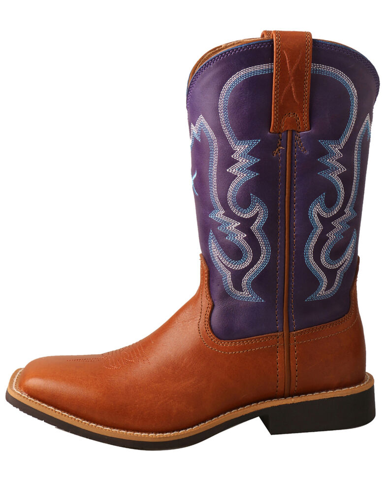 Twisted X Girls' Tan & Purple Top Hand Western Boots - Narrow Square Toe, , hi-res