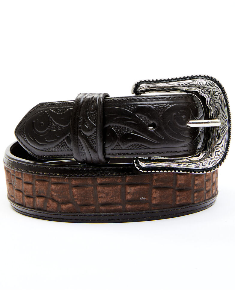 Cody James Men's Croc Print Tooled Billet Western Belt, Chocolate, hi-res