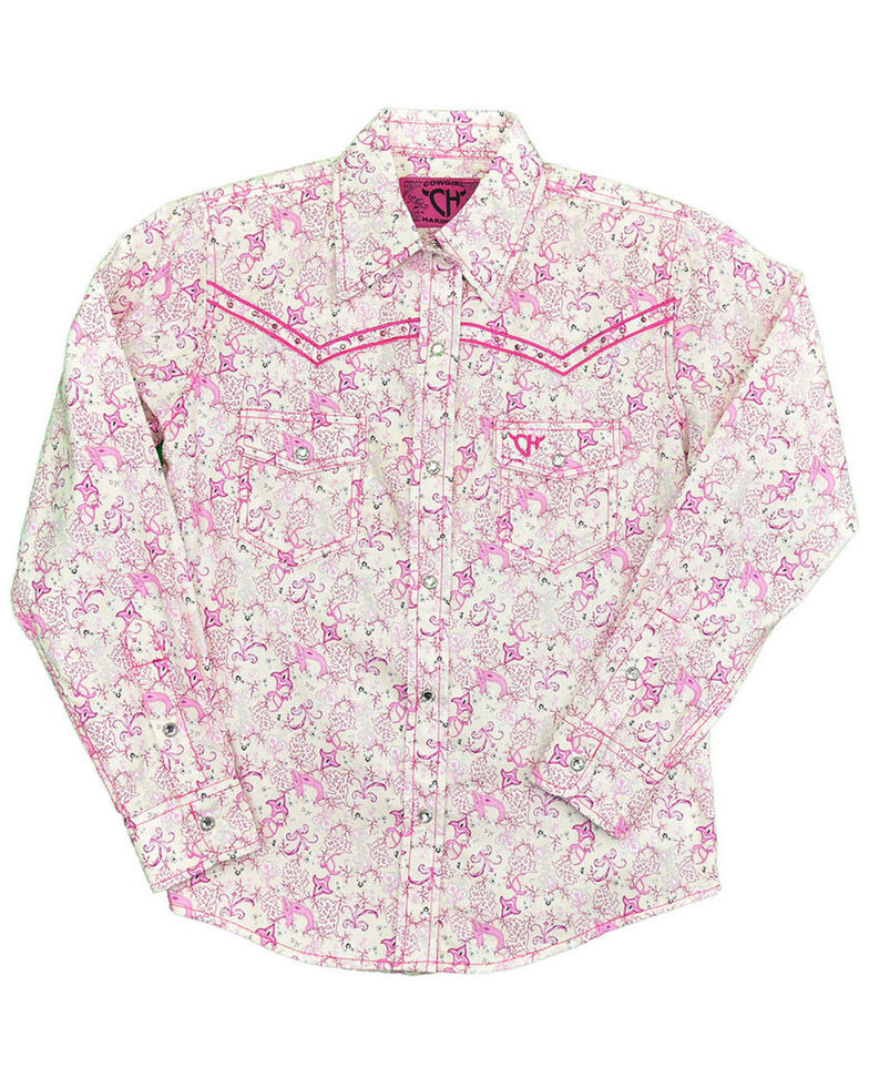 Cowgirl Hardware Girls' Ivory Pink Paisley Print Long Sleeve Western Shirt , Pink, hi-res