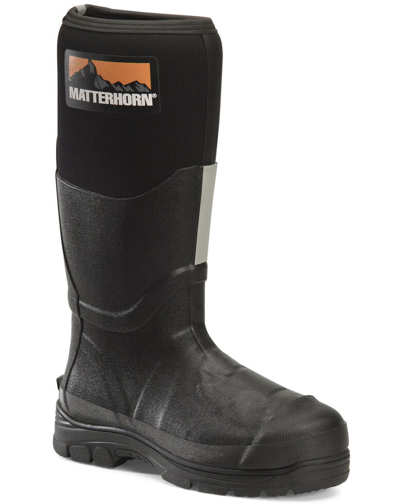 "Double H Men's 16"" Rubber Work Boots - Steel Toe, Black, hi-res"
