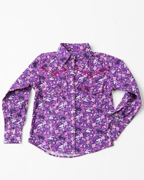 Cowgirl Hardware Girls' Floral Print Long Sleeve Shirt , Purple, hi-res