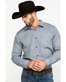 Gibson Men's Stanton Geo Print Long Sleeve Western Shirt , Navy, hi-res