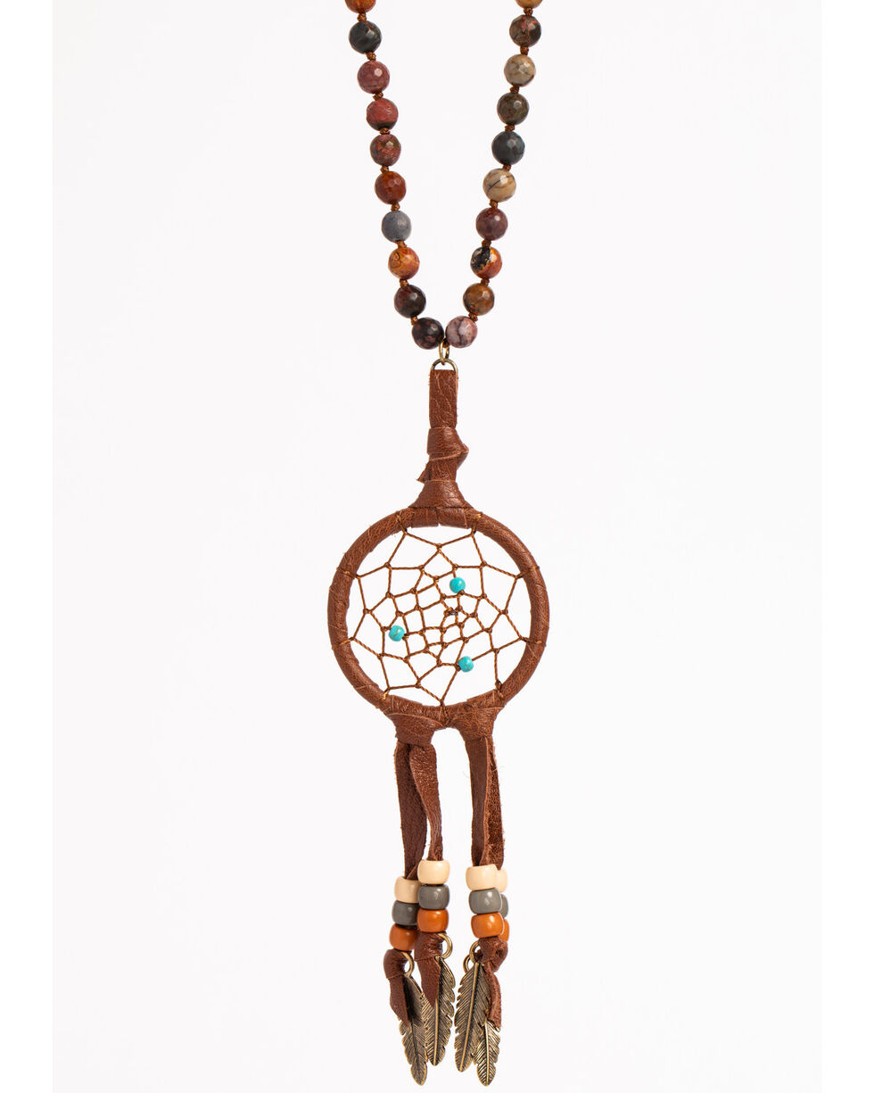 Shyanne Women's Dream Catcher Feather Necklace, Rust Copper, hi-res