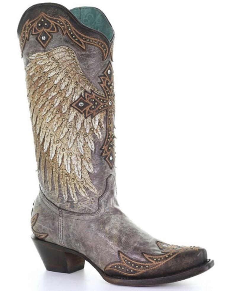 Corral Women's Tobacco Wings & Cross Western Boots - Snip Toe, Brown, hi-res