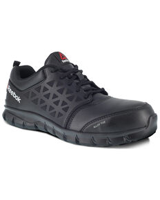 Reebok Men's Grey Sublite Cushion Work Boots - Alloy Toe, Black, hi-res