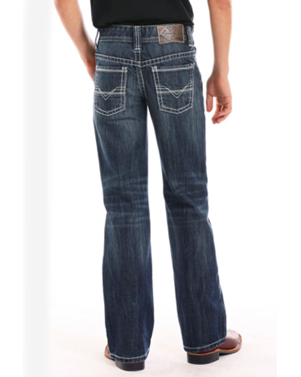 "Rock & Roll Cowboy Boys' BB Gun""V"" Embroidery Regular Fit Boot Cut Jeans, Indigo, hi-res"