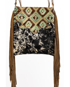 Keep It Gypsy Women's Black Hazel Speckled Aztec Leather Handbag, Brown, hi-res