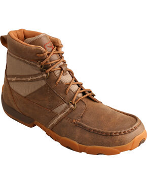 Twisted X Men's Lace-Up Driving Moc Casual Shoes, Brown, hi-res