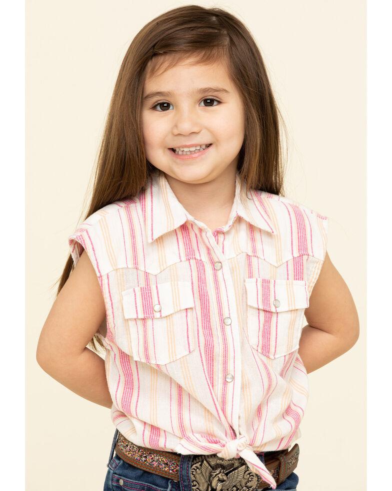 Shyanne Toddler Girls' Orange & Pink Stripe Snap Tie Front Sleeveless Western Shirt, Pink, hi-res