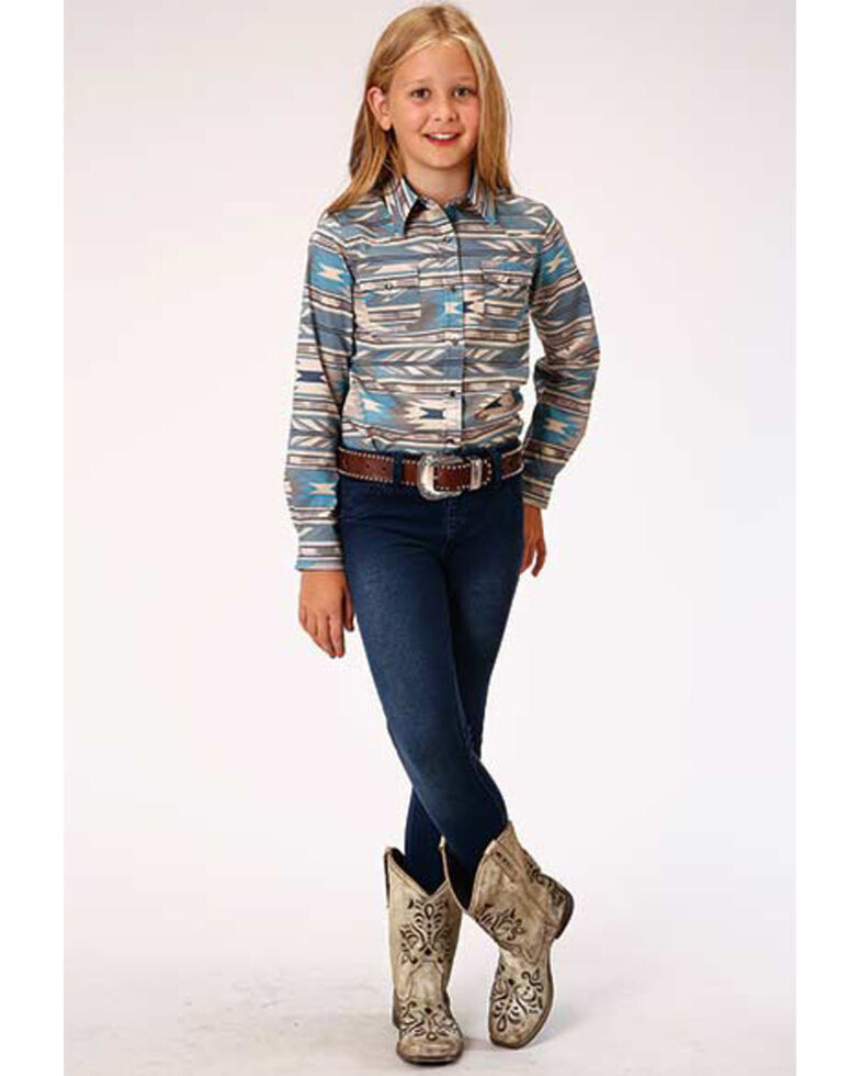 West Made Girls' Turquoise Aztec Print Long Sleeve Western Shirt  , Turquoise, hi-res