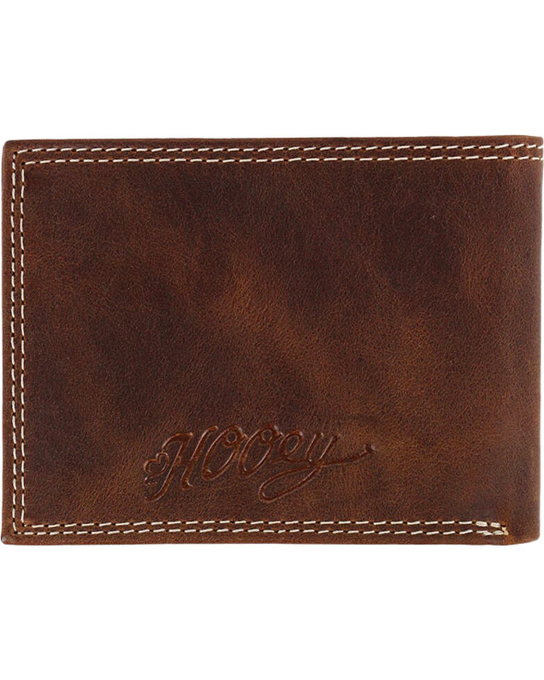 HOOey Men's Embossed Bi-fold Wallet, Brown, hi-res