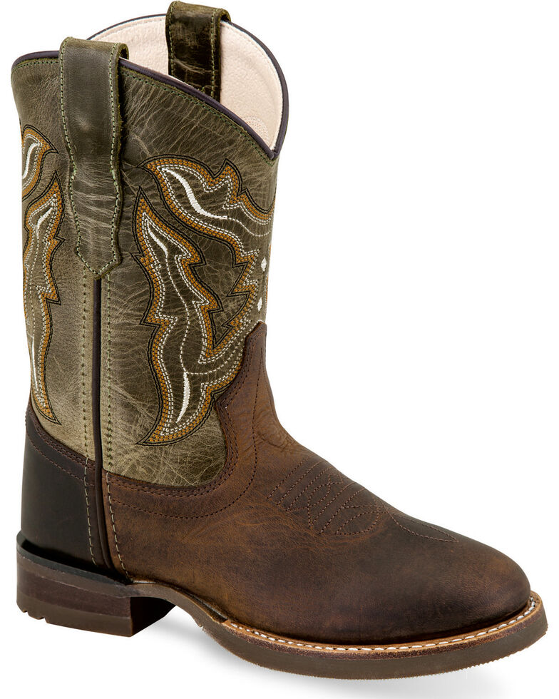 Old West Youth Boys' Brown Fancy Stitch Leather Boots - Round Toe , Brown, hi-res