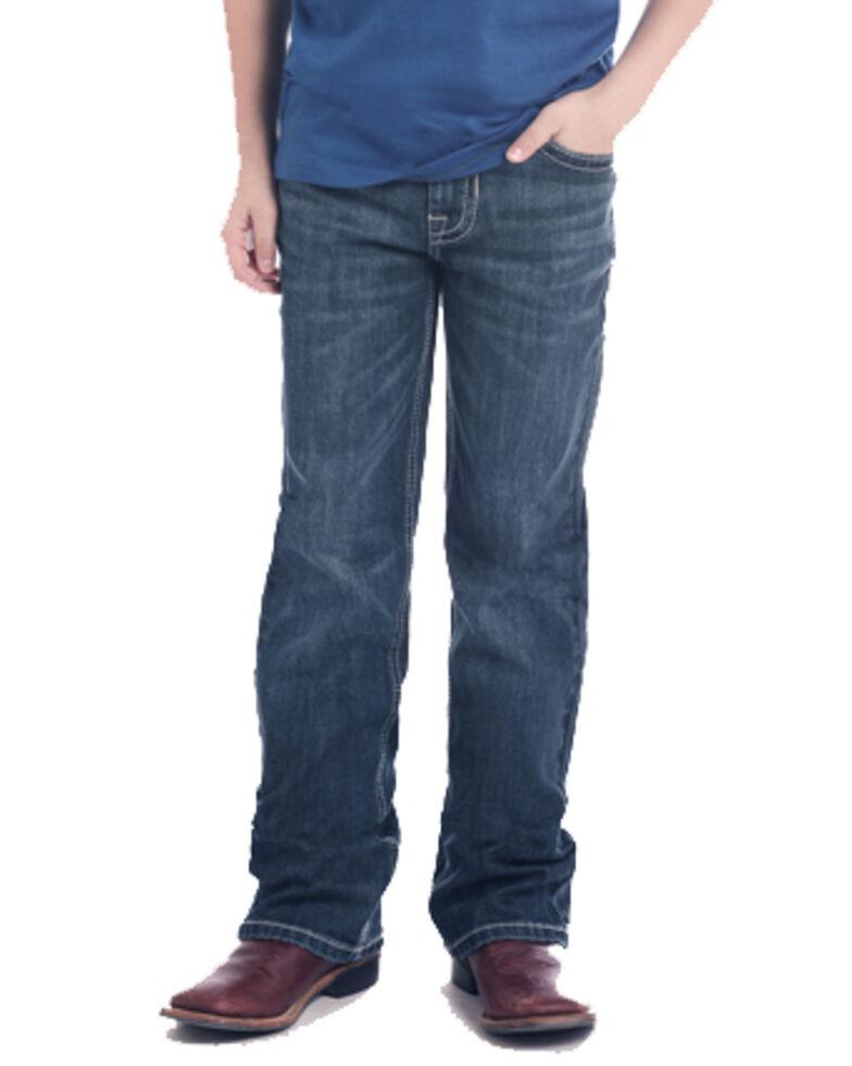 Rock & Roll Cowboy Boys' Diamond Pocket Dark Boot Jeans , Blue, hi-res
