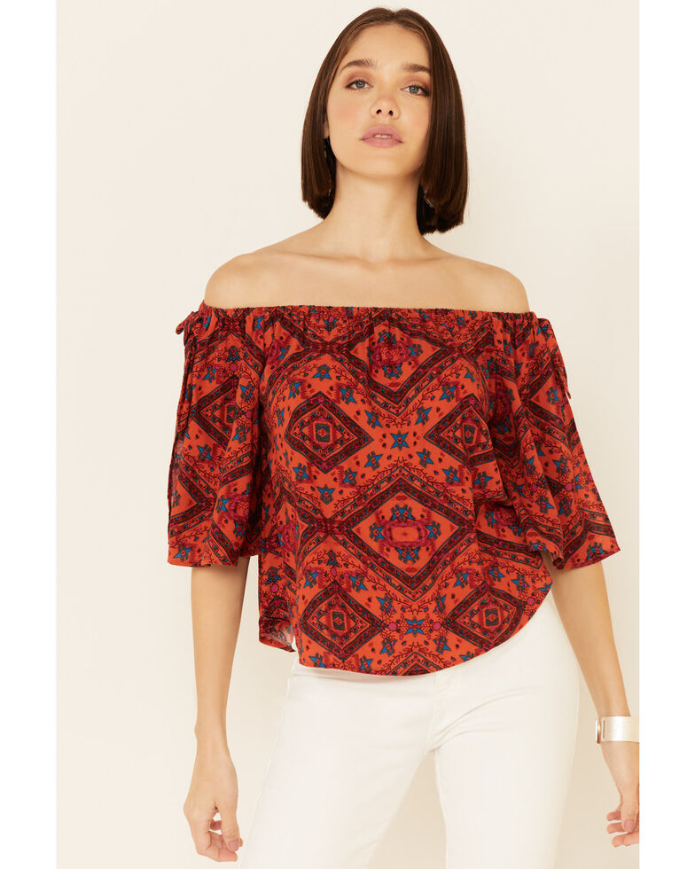 Shyanne Women's Chili Tile Print Tie Sleeve Off-Shoulder Top , Chilli, hi-res