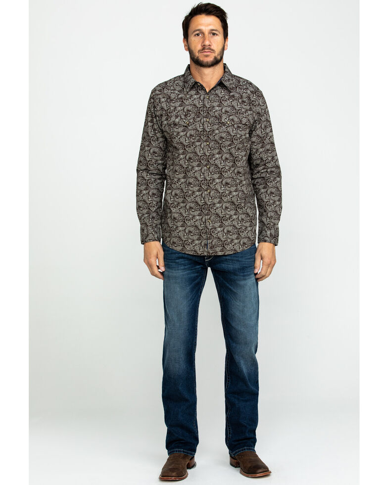 Moonshine Spirit Men's Whiskey A Go Go Paisley Print Long Sleeve Western Shirt , Brown, hi-res
