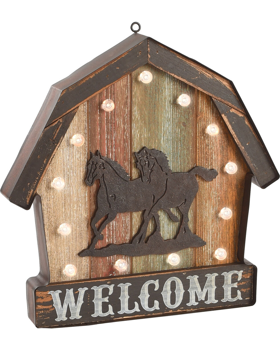 Western Moments LED Welcome Barn Sign, No Color, hi-res