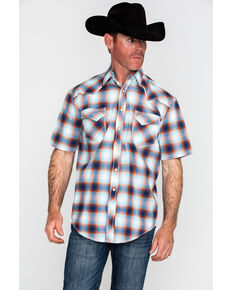 Panhandle Men's Rough Stock Delano Vintage Plaid Short Sleeve Western Shirt , Blue, hi-res