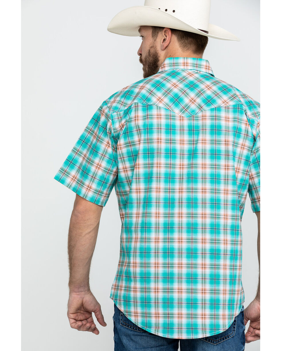Wrangler 20X Men's Competition Advanced Comfort Plaid Long Sleeve Western Shirt , Turquoise, hi-res