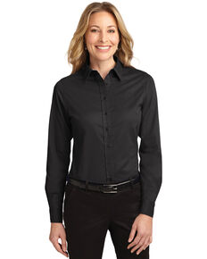 Port Authority Women's Black & Light Stone 2X Easy Care Long Sleeve Shirt - Plus, Multi, hi-res