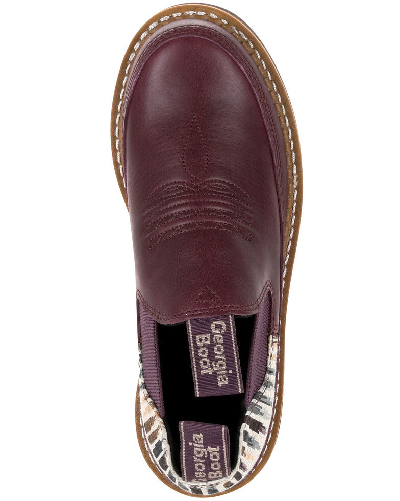 Georgia Boot Women's Wine Striped Romeo Shoes - Round Toe, Purple, hi-res