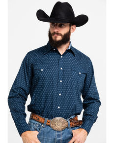 Roper Men's Blue Diamond Geo Print Long Sleeve Western Shirt , Blue, hi-res