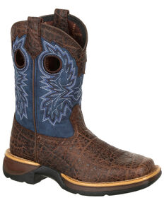 Durango Boys' Rebel Faux Exotic Western Boots - Square Toe, Brown, hi-res