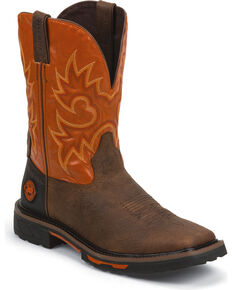 "Justin Men's 11"" Hybred Western Work Boots, Brown, hi-res"