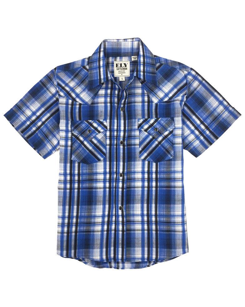 Ely Cattleman Boys' Blue Plaid Short Sleeve Western Shirt , Blue, hi-res