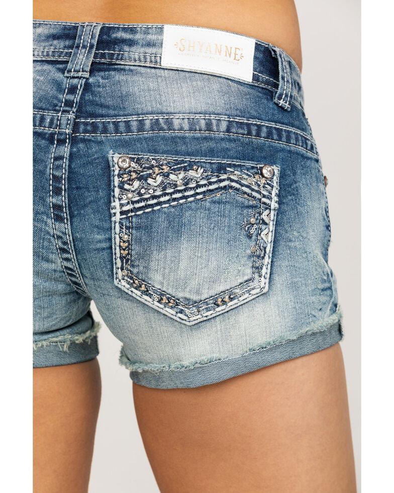 Shyanne Women's Medium Wash Bling Rolled Cut Off Shorts, Blue, hi-res