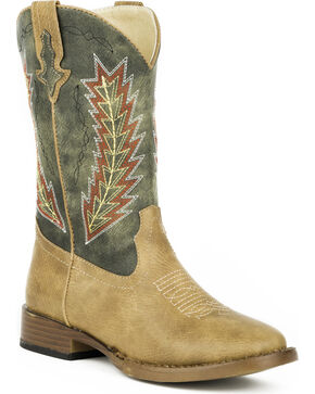 Roper Boys' Arrowheads Cowboy Boots - Square Toe, Tan, hi-res