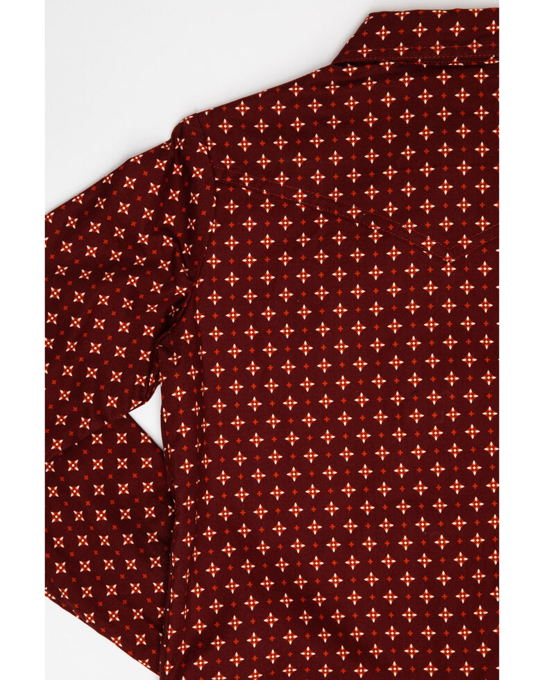 Amarillo Girls' Geo Print Long Sleeve Western Shirt, Red, hi-res
