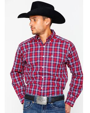 Ariat Men's Safrin Perf Long Sleeve Western Shirt , Red, hi-res