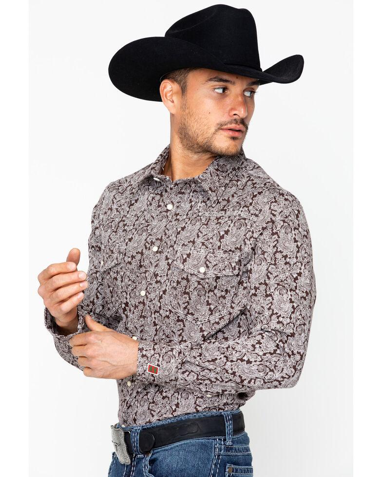 Rock & Roll Cowboy Men's Fire Resistant Printed Twill Shirt , Brown, hi-res