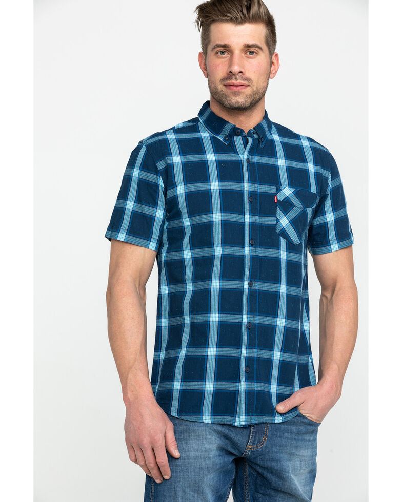 Levi's Men's Brunet Plaid Short Sleeve Western Shirt , Dark Blue, hi-res