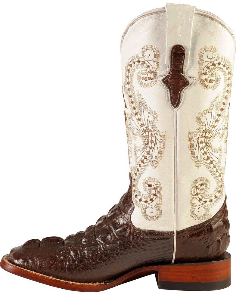 Ferrini Women's Hornback Caiman Print Western Boots, Chocolate, hi-res