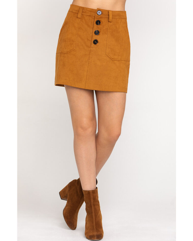 Shyanne Women's Tan Faux Suede Mini Skirt, Pecan, hi-res