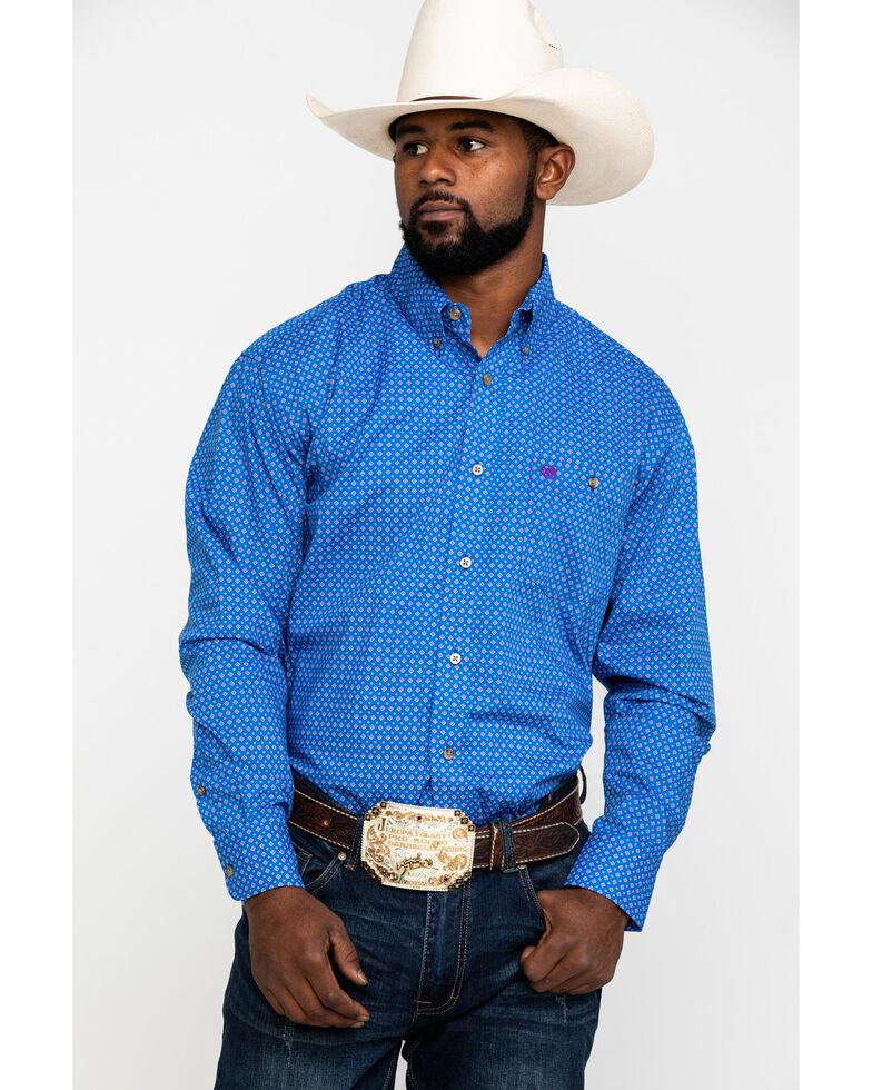 Wrangler Men's Classic Royal Blue Diamond Geo Print Long Sleeve Western Shirt , Blue, hi-res